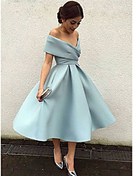 cheap -Back To School A-Line Elegant Vintage Cocktail Party Formal Evening Dress V Neck Short Sleeve Tea Length Matte Satin with Pleats 2020 Hoco Dress