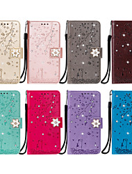 cheap -Phone Case For LG Full Body Case Leather Flip LG V30 LG Stylo 4 LG Stylo 5 LG K10 2018 LG G7 LG G6 LG Q60 LG K50 K8 2018 / K9 Card Holder Flip Pattern Flower / Floral Glitter Shine PU Leather TPU