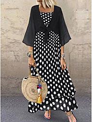 Χαμηλού Κόστους -Γυναικεία Φόρεμα σε γραμμή Α Μακρύ φόρεμα - 3/4 Μήκος Μανικιού Πουά Καλοκαίρι Καθημερινό Καθημερινά 2020 Μαύρο M L XL XXL XXXL