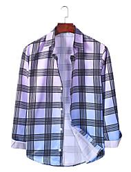 billige -Herre Ternet Skjorte Basale Hawaiiansk Daglig I-byen-tøj Blå / Orange