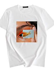 billige -Herre Dame T-shirt / T-shirt Kort Ærme Tegneserie Sport Athleisure T-shirt Letvægt Åndbart Blød Dagligdags Brug Hvid Blå Grå / Afslappet