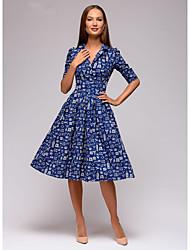 cheap -Women's A-Line Dress Knee Length Dress - Half Sleeve Print Patchwork Print Spring Summer Casual Daily 2020 Blue Brown S M L XL XXL