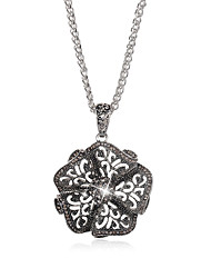 cheap -Women's Crystal Pendant Necklace Flower Vintage Boho Chrome Silver 76 cm Necklace Jewelry 1pc For Daily Work Club Festival