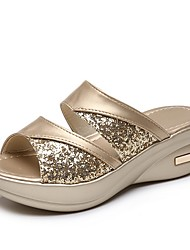 cheap -Women's Slippers & Flip-Flops Summer Flat Heel Open Toe Daily PU Gold / Gray