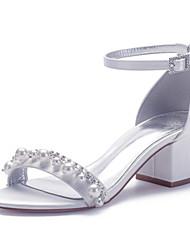 cheap -Women's Wedding Shoes Cuban Heel Open Toe Classic Sweet Minimalism Wedding Party & Evening Satin Rhinestone Imitation Pearl Solid Colored Summer White Black Purple