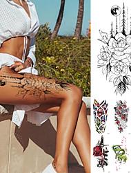 cheap -10 pcs Temporary Tattoos Waterproof Temporary Tattoo Sticker Flower Rose Flash Tattoos Lalash Tattoos Snake Lion Body Art Arm Fake Sleeve Tatoo Women XQB01-10 XQB11-20