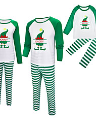 cheap -2 Piece Family Look Active Vintage Striped Color Block Letter Print Long Sleeve Regular Maxi Clothing Set Green
