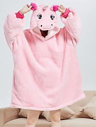 cheap -Adults' Kigurumi Pajamas Bathrobe Unicorn Flying Horse Onesie Pajamas Flannel Fabric Pink Cosplay For Men and Women Animal Sleepwear Cartoon Festival / Holiday Costumes / Bath Robe