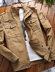 cheap -Men's Hiking Jacket Outdoor Multi-Pocket Jacket Cotton Climbing Camping / Hiking / Caving Traveling Black / Army Green / Khaki