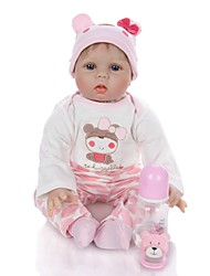 cheap -KEIUMI 22 inch Reborn Doll Baby & Toddler Toy Reborn Toddler Doll Baby Girl Gift Cute Lovely Parent-Child Interaction Tipped and Sealed Nails 3/4 Silicone Limbs and Cotton Filled Body 22D13-C126 with