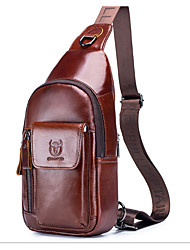 cheap -Men's Bags Cowhide Crossbody Bag 3 Pcs Purse Set Zipper for Daily / Office & Career Black / Brown / Coffee