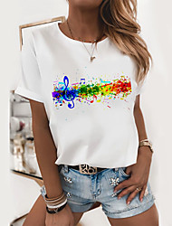 cheap -Women's T-shirt Graphic Prints Round Neck Tops Loose 100% Cotton Basic Top White