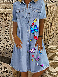 cheap -Women's Denim Shirt Dress Knee Length Dress Blue Short Sleeve Butterfly Animal Pocket Button Front Print Summer Shirt Collar Casual 2021 M L XL XXL 3XL