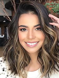 cheap -Synthetic Wig Wavy Side Part Wig Long Ombre Brown Synthetic Hair 18 inch Women's Party New Arrival Cool Mixed Color / Ombre Hair