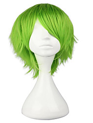 cheap -Cosplay Costume Wig Synthetic Wig Toupees Curly Cosplay Layered Haircut Wig Short Light Brown Silver grey Green Yellow Synthetic Hair 10 inch Men's Synthetic Youth Green hairjoy