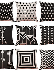 cheap -1 Set of 9 Geometric Lines Series  Decorative Linen Throw Pillow Cover 18 x 18 inches 45 x 45 cm