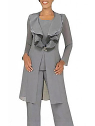 cheap -Pantsuit / Jumpsuit Mother of the Bride Dress Sexy Jewel Neck Floor Length Chiffon Long Sleeve with Buttons 2020