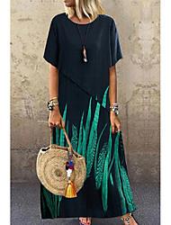 Χαμηλού Κόστους -Γυναικεία Φόρεμα ριχτό Μακρύ φόρεμα - Μισό μανίκι Στάμπα Καλοκαίρι Καθημερινό Καθημερινά 2020 Βαθυγάλαζο M L XL XXL XXXL