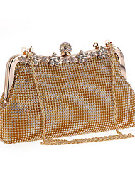 cheap -Women's Bags Polyester Clutch Crystals Solid Color Wedding Bags Party Event / Party Black Gold Silver