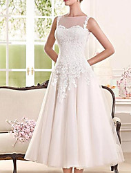 cheap -A-Line Wedding Dresses Jewel Neck Tea Length Lace Tulle Sleeveless Vintage 1950s with Appliques 2020