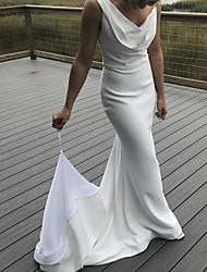 cheap -Mermaid / Trumpet Wedding Dresses Bateau Neck V Neck Sweep / Brush Train Satin Sleeveless Simple with 2021