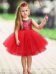 cheap -Kids Toddler Little Girls' Dress Solid Colored Christmas Black Red Blushing Pink Sleeveless Active Basic Dresses