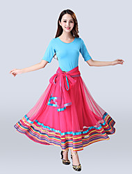 cheap -Ballroom Dance Skirts Pleats Women's Training Performance Short Sleeve High Polyester