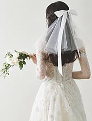 זול -שתי שכבות Sweet Style הינומות חתונה צעיפי כתף עם קשת סטאן 30 cm טול