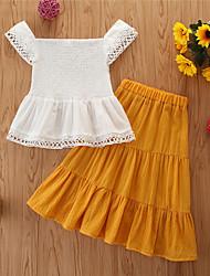 cheap -Toddler Girls' Clothing Set Print Sleeveless Cotton Casual White Basic Regular Regular
