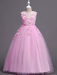 cheap -Princess / Ball Gown Floor Length Party / Wedding Flower Girl Dresses - Satin / Tulle Sleeveless Jewel Neck with Bow(s) / Appliques