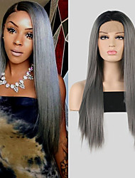 cheap -Synthetic Lace Front Wig Silky Straight Middle Part Lace Front Wig Long Black / Grey Synthetic Hair 18-26 inch Women's Adjustable Heat Resistant Synthetic Dark Gray