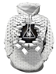 cheap -Men's Plus Size Hoodie Geometric 3D Letter Hooded Casual Street chic Hoodies Sweatshirts  Gray