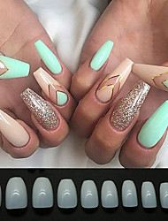 cheap -Coffin Fake Nails Tips Acrylic False Nail BTArtbox 600PCS Natural Artificial Full Cover Ballerina Nails 10 Sizes