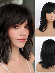 cheap -Remy Human Hair Wig Long Natural Wave Layered Haircut Asymmetrical Side Part With Bangs Black Women Fashion Natural Hairline Capless Women's All Natural Black #1B 16 inch