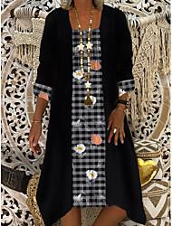 cheap -Women's Shift Dress Midi Dress - Half Sleeve Color Block Plaid Print Summer Square Neck Casual Daily Loose 2020 Black M L XL XXL XXXL
