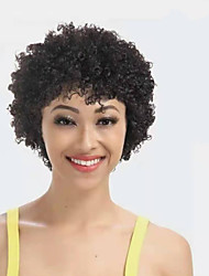 cheap -Remy Human Hair Wig Short Afro Curly Kinky Curly Pixie Cut Short Bob Natural Women Sexy Lady New Capless Peruvian Hair Women's Natural Black #1B 6 inch