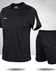 cheap -Unisex Tracksuit Jogging Suit 1 set Spandex Breathable Quick Dry Soft Gym Workout Running Active Training Walking Fitness Sportswear Stripes Running T-Shirt With Pants Sweatshirt and Pants Athletic