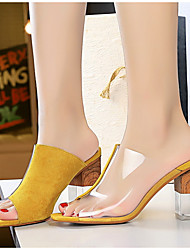 cheap -Women's Clogs & Mules / Slippers & Flip-Flops Summer Block Heel Round Toe Daily Color Block Suede Camel / Yellow / Red