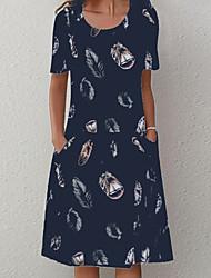 cheap -Women's A Line Dress Knee Length Dress Blue White Short Sleeve Print Print Summer Round Neck Hot Casual 2021 L XL XXL 3XL 4XL 5XL