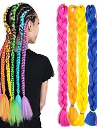 cheap -Crochet Hair Braids Jumbo Box Braids Black Blue Blonde Synthetic Hair Braiding Hair 6pcs 3pcs 1pc