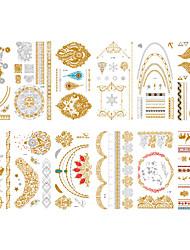 cheap -6 Sheets Randomly Metallic Temporary Tattoos Temporary Tattoos Waterproof metal design tattoo stickers Geometric Tattoo Designs-LH 13-24