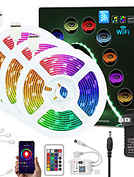 cheap -ZDM Upgraded 50ft (3*5M) App Intelligent Control Led Strip Lights IR 24 Key WIFI Controller 5050 RGB LED Soft light strip with Adapter Kit DC12V