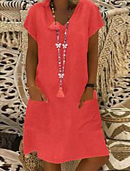 cheap -Women's Shift Dress Short Mini Dress Black Yellow Blushing Pink Light Green Light Blue Short Sleeve Other Summer V Neck Basic Hot 2021 M L XL XXL 3XL 4XL 5XL / Plus Size