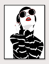 cheap -Frame Art Canvas Wall Art Pop Cartoon Fashion Characters Printing Abstract Wall Decoration  Porch Corridor Black Picture Frame Ready To Hang