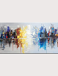 cheap -Hand-Painted Urban Landscape Modern Oil Painting Sail Reflection Abstract Wall Art Decoration Rolled Without Frame