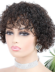 cheap -Remy Human Hair Wig Short Jerry Curl Pixie Cut Natural Hot Sale For Black Women Machine Made Brazilian Hair Women's Natural Black #1B 10 inch 12 inch 14 inch
