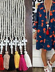 cheap -Women's Long Necklace Tassel Ethnic Fashion Boho Stone Light Khaki Black Blue Yellow Blushing Pink 90 cm Necklace Jewelry For Gift Beach Festival