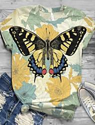 Χαμηλού Κόστους -Γυναικεία T-shirt Ζώο Άριστος Στρογγυλή Λαιμόκοψη Καθημερινά Κίτρινο Τ M L XL 2XL 3XL 4XL 5XL