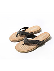 cheap -Women's Slippers & Flip-Flops 2020 Spring / Summer Flat Heel Open Toe Casual Sweet Outdoor Home Sparkling Glitter Solid Colored Suede / PU Walking Shoes Black / Gold / Gold