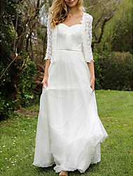 cheap -A-Line Wedding Dresses Sweetheart Neckline Floor Length Chiffon Lace Half Sleeve Simple Beach Cape with Pleats Appliques 2020